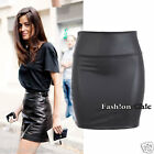 SKT20263 CelebStyle Faux Leather High Waisted Mini Skirt