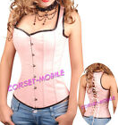 Pink Goth Faux Leather Lace Up CORSET S-2X Bustier SteamPunk waistcoat Top A2671