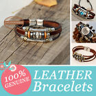 Genuine Leather Handmade Bracelet Fashion Wristband Natural Surfer Charm Bead