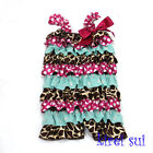 Giraffe Hot Pink Blue Polka Dots Lace Petti Romper with Strap and Bow NB-3Y