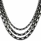 "5/6/7mm MENS Chain Silver Black Box Byzantine Stainless Steel Necklace 18""-36''"