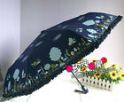 Portable Folding AUTO Open & Close Windproof SILVER COATED anti-UV Umbrella NEW
