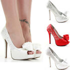 Ladies Party Platform Pumps High Heels Stiletto Prom Peeptoe Court Shoes Size