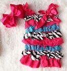 Baby Hot Pink Blue Lace Zebra Satin Petti Rompers Bow Headband 2pc NB-3Y