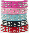 3 Rows Bling Diamante Rhinestone Dog Cat Collar Suede Leather Pet Dog Collar