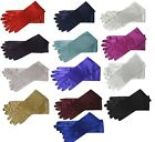 "9"" Wrist Length Stretch Satin Gloves for Wedding Bridal Prom Formal 14 Colors"