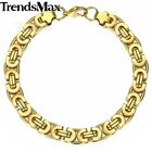 6/8/11mm MENS Boys Chain Gold Tone Flat Byzantine Stainless Steel Bracelet Gift