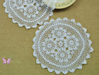 "12"" Dainty 1 Pair/2PCS Hand crochet Round doily placemat cotton White"