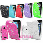DIAMOND BLING SPARKLY PU LEATHER FLIP CASE COVER FOR NOKIA LUMIA MOBILE PHONES