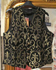 Black Gold Pirate Regal Gothic Military Waistcoat Brocade Top Quality Theatrical