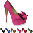 WOMENS LADIES HIGH HEEL CONCEALED PLATFORM POINTED COURT  PUMPS WITH BOW SHOES
