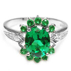 2.5ct UNIQUE LUXURY Nano Russian Emerald Ring 925 Sterling Silver Size 6 7 8