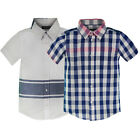 BOYS SHORT SLEEVE SHIRT 100% COTTON KIDS STRIPED OR CHECKED SUMMER TOP 3-6 YEARS