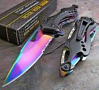 Tac Force Spring Assisted Rainbow Spectrum Bottle Opener Rescue Pocket Knife New