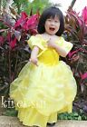 Halloween Xmas Girls Deluxe Belle Princess Party Dress Yellow Costume 3-8Y