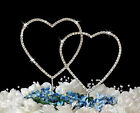 Rhinestone Crystal Double Heart Wedding or Anniversary Cake Topper