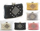 WHITE BLACK PINK SILVER GOLD Satin Mock Pearl Crystal Hard Case Clutch Bag #770