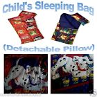 CHILDRENS SLEEPING BAG WITH DETACHABLE PILLOW  DALMATIAN/TEDDIES ON HOLIDAY