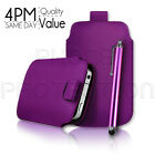 LEATHER PULL TAB SKIN CASE COVER POUCH AND STYLUS PEN FOR VARIOUS MOBILE PHONES