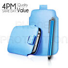 LEATHER PULL TAB SKIN CASE COVER POUCH AND STYLUS PEN FOR VARIOUS SAMSUNG PHONES