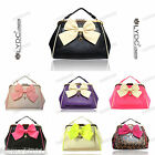 PINK PURPLE BLACK LEOPARD LYDC Faux Leather Vintage Bow Satchel Shoulder Bag 547