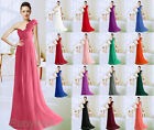 New One Shoulder Full Length Chiffon Evening Prom Gowns Bridesmaids Dresses 6-26
