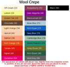 100% Wool Crepe (4x5cm sample colour testers & per metre purchasing) New Colours