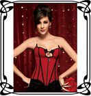 Elegant Red Zipper Overbust Corset Bustier Top S M L XL 2XL