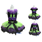 Halloween Green Purple Black Petal Pettiskirt Witch Legs Black Tee Costume Dress