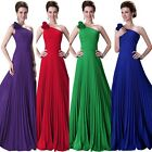 Sexy Flower Shoulder Pleated Party Gown Prom Ball Evening Long Dress 4 Colors
