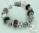 LADIES PINK SPARKLE CHARM BEAD BRACELET SISTER MUM BIRTHDAY PRESENT GIFT BOXED