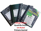 Composition Note Books College Rule, Quadrille Rule, Unrule, Primary Journal