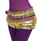 S248 Gold Coins 2 Rows Colorful Diamonds Velvet Belly Dance Hip Scarf 10 Colors