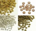 50 x Flower / Snowflake / Daisy Rondelle Spacer Beads- Gold Silver Bronze - SP49