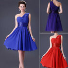 One Shoulder Bridesmaid Prom Bridal Gown Evening Party Cocktail Short Mini Dress