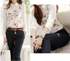 New Women Vintage OL Floral Print  Chiffon Stylish Long Sleeve Shirt Blouse Tops