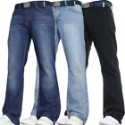 MENS JEANS NEW BOOTCUT FLARE BLUE FLARED WIDE LEG KING PLUS ALL WAIST SIZES