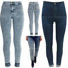 New Womens High Waisted Skinny Jeans Classic Acid Wash Denim Jean Pants Sz 8-14