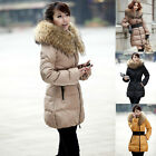 Women's Lady's Goose Down Jacket Long Coat Thicken Belted Fur Collar Winter Warm