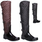 NEW WOMENS LADIES BLACK FUR LINED BUCKLE KNEE LENGTH WELLINGTON BOOTS SIZE 3-8
