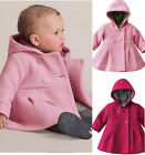 1 NWT Fall Winter Baby Girls Lovely Woolen Cotton Hoodie Jacket Coat Outwear