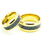 Matching 8mm & 10mm 18k Gold Plated Black & Blue Carbon Fiber Tungsten Ring Set