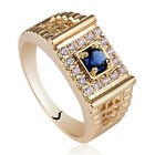 3.5mm Stone Yellow Gold Finish Solid 925 Sterling Silver Ring Size for Men