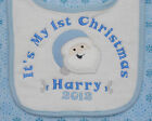 Personalised 1st First Christmas Xmas Baby Bib 2016 Choice of designs and colour