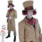 Mens Dickensian Toff Mad Hatter Alice Wonderland Fairytale Fancy Dress Costume