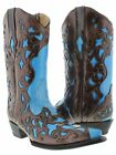 women's baby blue brown cowboy boots ladies leather overlay western rodeo riding