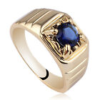 Solitary Stone Yellow Gold Finish Solid 925 Sterling Silver Men Ring Sizes