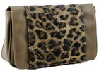 New Khaki Brown Leopard Print Animal Faux Leather Satchel Quilted Bag Womens