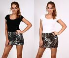 WOMENS LADIES LEOPARD ANIMAL PRINT SHORT STRETCH BODYCON MINI SKIRTS