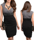 Women Black Grey Party Work Corporate Cap Sleeve Midi Dress Size 6 8 10 12 NEW